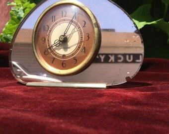 Vintage 1930s Seth Thomas Mirrored Rose Glass Clock