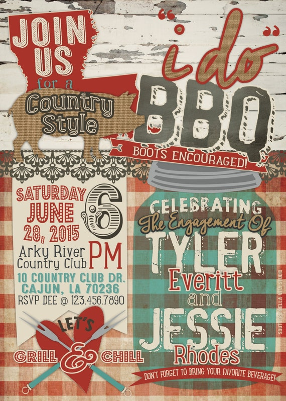 Western Rustic I DO BBQ Invitation