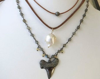Diamond  Shark Tooth Sterling Pendant,genuine Diamond Shark Tooth on Labradorite welo opal chain, coachella festival style, Beachy Bohemian