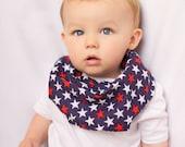 "Modern Bib (Patriotic Stars) All in One Scarf & Bib ""Scabib for babies or toddlers"