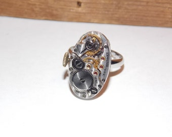 Jeweled Oval Steampunk Watch Movement Adjustable Ring