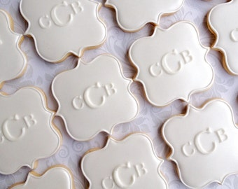 White on White Pearl finish Fancy Square Plaque Monogram Cookies - One Dozen Decorated Wedding Cookies
