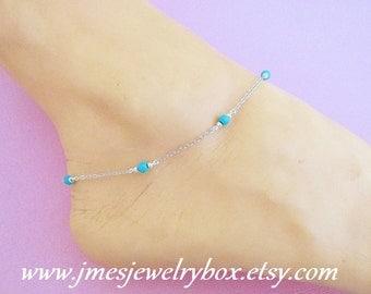 Turquoise boho silver anklet (Adjustable)