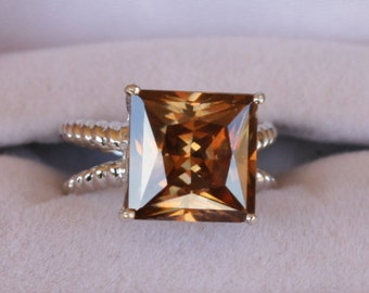 ON SALE NOW Strontium Titanate Ring Split Shank Square Cut Princess Cut Engagement Ring Wedding Ring