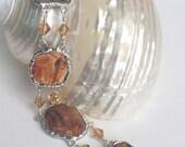 Broken China Jewelry  ~ Beach Rock Custom Bracelet   RESERVED for Brenda