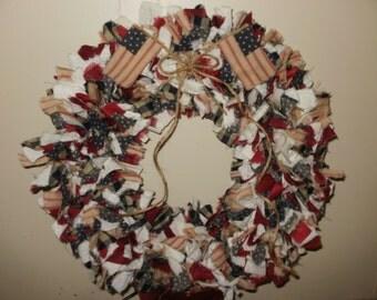 Olde to Glory Rag Strip Wreath