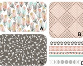 Swatches for Crib bedding in feather and arrow fabrics