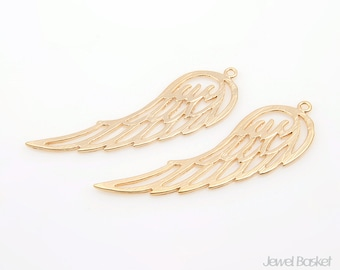 Wing Pendant in Matte Gold / 14mm x 42mm / BMG176-P (2pcs)