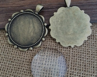 5set 30mm antique bronze Round pendant Trays With Glass Cabochons