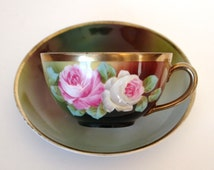 Antique Tea Cup and Saucer Porcelain Teacup Roses and Gold Royal Vienna Peinture A La Main Teacup with Pink Roses Victorian Style Tea Cup