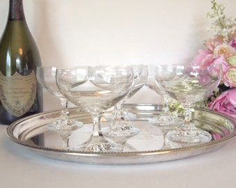 Vintage Champagne Coupe Glasses Crystal Blown Glass  Set of 6 Barware Stemware Wedding Gift Housewarming Gift