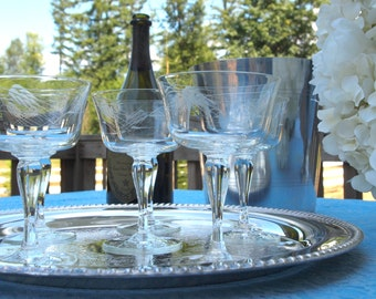 Vintage Crystal Champagne Coupe Glasses Saucers - Set of 5   Etched with Wheat   Glassware Stemware   Wedding Housewarming Gift