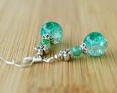 Green crackle silver earrings