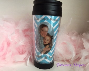 Personalized Photo plastic travel mug  Travel mug with picture or photo.coffee cup holiday gift