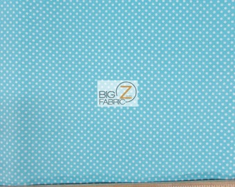 "100% Cotton Fabric - Polka Dot Aqua/White - 45"" Wide By The Yard (FH-1763)"