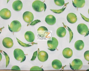 "Fresh Picked Limes White By V.I.P. Premium 100% Cotton Fabric - 45"" Width Sold By The Yard (FH-1854)"