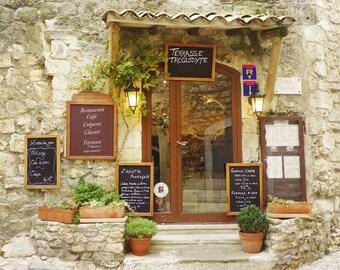 Terrasse Troglodyte, France Photography, Restaurant, Travel Photography, Art Print, Wall Decor