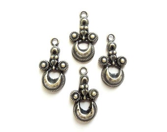 4 Oxidized Silver Drop Charms - 21-31-4