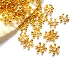 50 Gold Snowflake Spacers - 17-G0-5