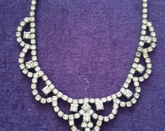 Beautiful Vintage 1950s Diamanté necklace victorian style