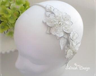Bridal Lace Headband, Ivory Wedding Headband, Bridal Lace Headpiece, Wedding Hair Fascinator- Wedding Accessories-HB156s