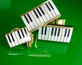 Jazzy Cuff links Music keyboard Piano Key Cufflinks Vintage Musician Pianist Wedding Tie tack  Gold black pianist gift Original box RETRO