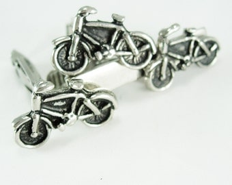 Bicycle Cufflinks & Tie clip * silver bike * vintage gift for men *  women bicyclist cyclist novelty jewelry * mens cool gift * Geek