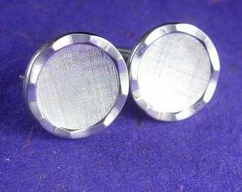 Retro Brushed Silver Cufflinks vintage diamond cut frame men's shirt accessory tuxedo jewelry anniversary gift for him