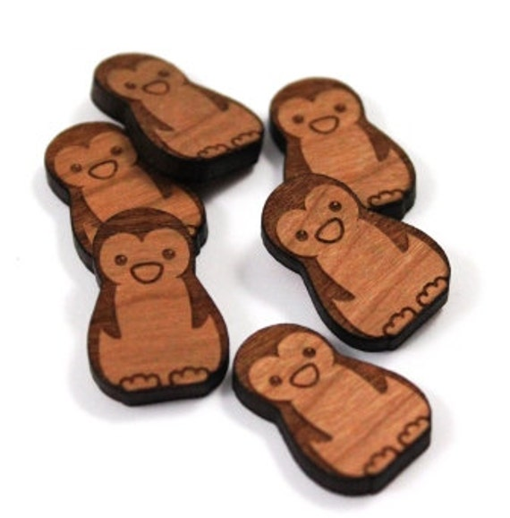Laser Cut Supplies-8 Pieces.Penguin Charms - Laser Cut Wood Penguin -Earring Supplies- Little Laser Lab Sustainable Wood Products