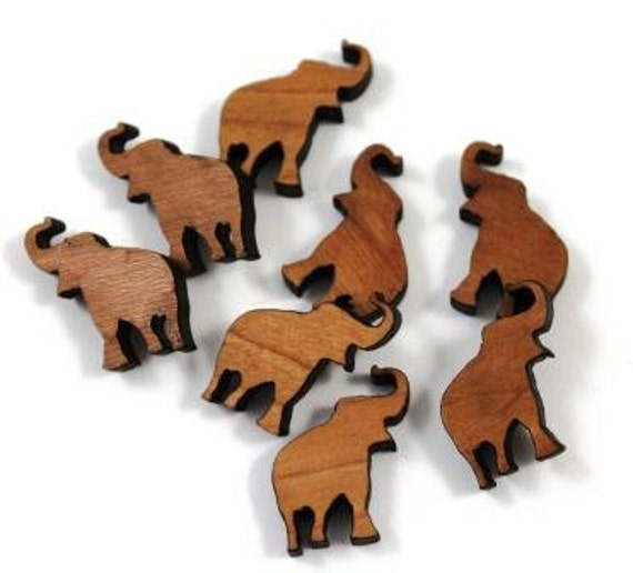 Laser Cut Supplies- 8 Pieces.Elephant Charms - Laser Cut Wood Elephant -Earring Supplies-  Little Laser Lab Sustainable Wood Products