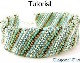 Beading Tutorial Bracelet - Flat Tubular Peyote Stitch - Simple Bead Patterns - Diagonal Diva #14073