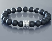 Power bead bracelet Mens black onyx bracelet w Stainless Steel Guru and accents Matte onyx bracelet Buddhist prayer bracelet Wrist mala bead