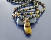 Mens necklace Mala necklace Tiger eye necklace w black onyx & Kwan Yin Buddha Long beaded necklace Spiritual ethnic necklace 108 beads mala