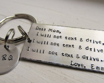 Personalized Keychain Don't Text and Drive Key Ring Mom Key Ring Teens Gift Gift for Him Gift For Her Hand Stamped Keychain