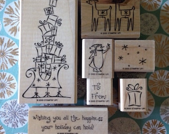 Stampin'Up! Stamp set. Retired. Sleigh full of toys. Woodmount .