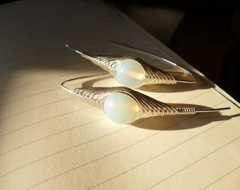Opalite Silver Earrings,Wire Wrapped Dangle Earrings - Herringbone Technique,Handmade