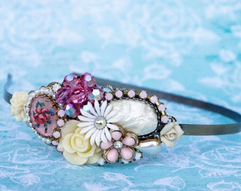 Vintage Collage Headband, Shabby Chic Bridesmaids Headband, Wedding Headband