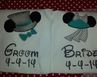 Bride and Groom Mickey Hat Inspired Shirts