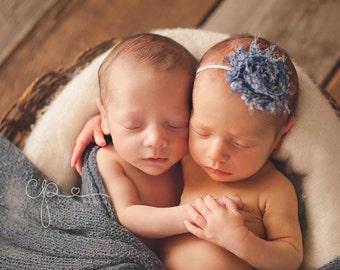 Vintage Colonial Blue Shabby Chic Flower on a Skinny Headband, Newborn Headband, Infant Headband, Photo Prop, Many Colors