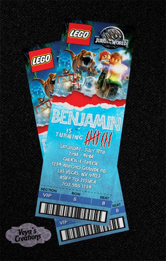 lego jurassic world ticket style invitation digital file