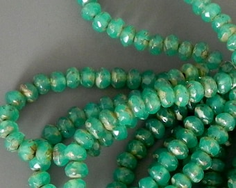 Jade Picasso Rondelle Beads - Czech Glass Rondell - 30 beads - 1351 - 5x3mm