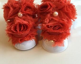 Adorable Orange Color Shabby Chiffon Fabric Flower Baby Barefoot Sandals. Newborn Baby Girl Barefoot Sandals, Baby Girl Barefoot Sandals