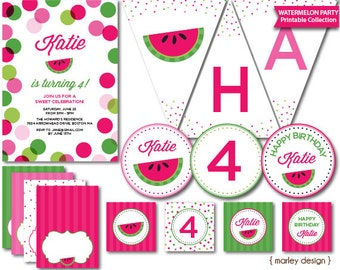Watermelon Party Girls Birthday Printable Party Decorations Watermelon Birthday Summer Birthday Summer Party BBQ Barbeque Watermelon Decor