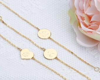 Gold initial bracelet Personalized Tiny Charm Disc bracelet Gold Dainty Letter bracelet Monogram Gold filled jewelry.
