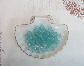 Light blue pony beads glass sea glass 8mm