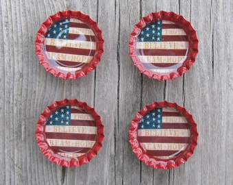 Red White and Blue American flag bottle cap magnets