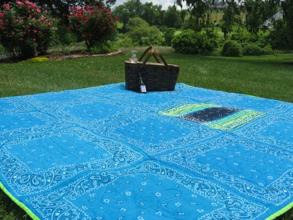 Picnic Blanket Beach Blanket Bandana Quilt Extra Large