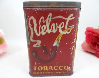 Vintage Velvet Tobacco Pocket Tin with 1909 Revenue Tax Stamp 1 3/4oz Tobacco A.C.Co. 70A-18