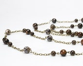 Smoky Brown Natural Stone Long Necklace - Bronzite, Turritella Agate and Smoky Quartz Necklace - Antique Brass - Long Brown Necklace