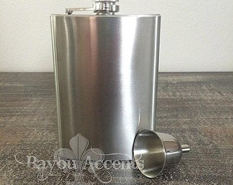 Blank 8oz Stainless Steel Flask with Funnel
